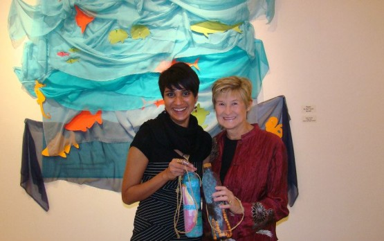 "Asher Jay and MERI Founder Susan Shaw at Jay's ""Message in a Bottle"" in Boulder, CO. (© Asher Jay 2012)"