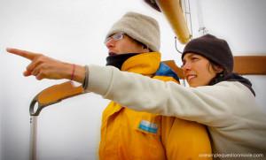 Teresa Pointing to Berg