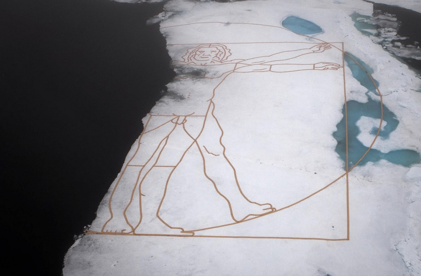 Arctic Vitruvian Man on Ice