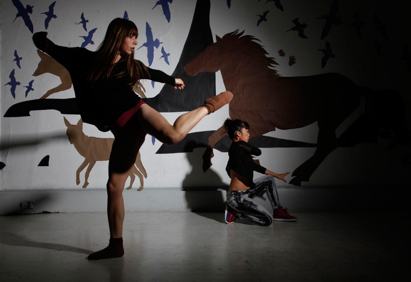 """Mission Lascaux Collaboration at Red Poppy Art House"" 2012. Carolina Czechowska and Embodiment Project dance, Claire Brandt installation. Variable dimensions; cut paper, photo, dance (Photo © Marisa Aragona)"