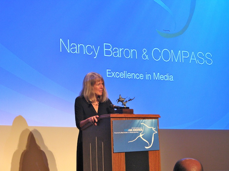 Nancy Baron accepting the award for Excellence in Media  (© Courtney Mattison)