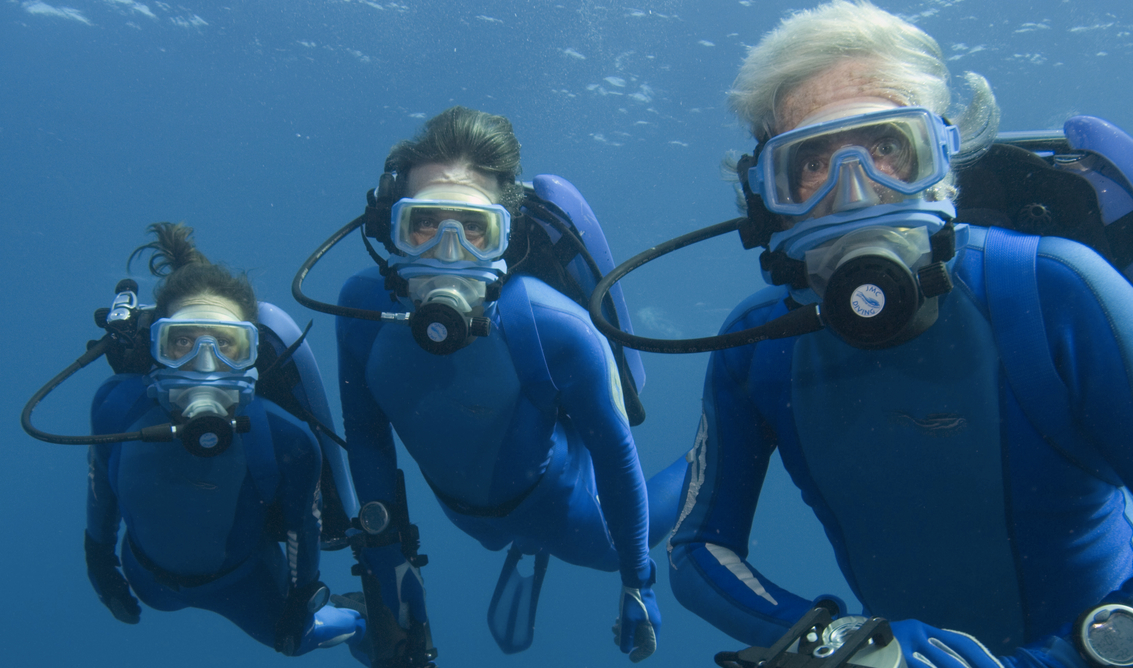 Celine and Fabien Cousteau join their father, Jean-Michel, on a film expedition dive in the Florida Keys National Marine Sanctuary, continuing the family legacy of Jacques Cousteau. Photo credit: © Carrie Vonderhaar, Ocean Futures Society & KQED