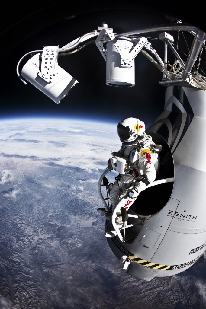 Pilot Felix Baumgartner of Austria prepares to jump from the altitude of 29455 meters during the second manned test flight for Red Bull Stratos in Roswell, New Mexico, USA on July 25, 2012. © Jay Nemeth/Red Bull Content Pool