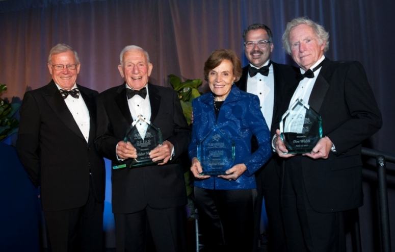 Jerry Schubel, Aquarium president and CEO; Walter Munk; Sylvia Earle; John Molina, Aquarium Board chairman; and Don Walsh.  Photo (c) Scott Smeltzer