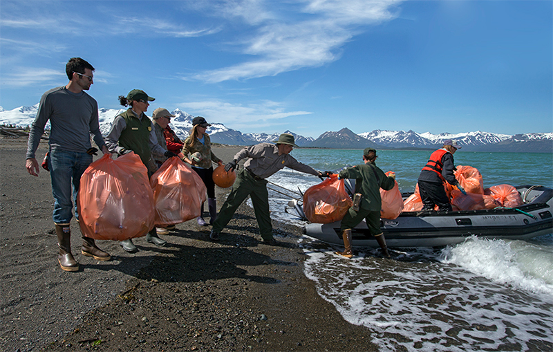 GYRE expedition participants and National Park staffers removed more than four tons of trash from Hallo Bay Beach, a four-mile stretch of shore in Katmai National Park. Photo © Kip Evans — GYRE