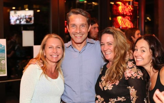 Vicki Nichols Goldstein, Fabien Cousteau, Gretchen Heieck & Jennifer Palmer at Friday's Blue Drinks – Photo © Jeffrey Dubinsky