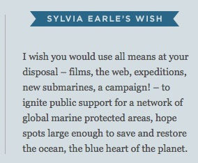 Silvia Earle's wish:I wish you would use all means at your disposal – films, the web, expeditions, new submarines, a campaign! – to ignite public support for a network of global marine protected areas, hope spots large enough to save and restore the ocean, the blue heart of the planet.