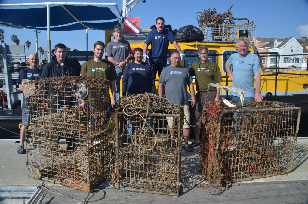 Four recovered lobster traps with crew (c) Ocean Defenders Alliance
