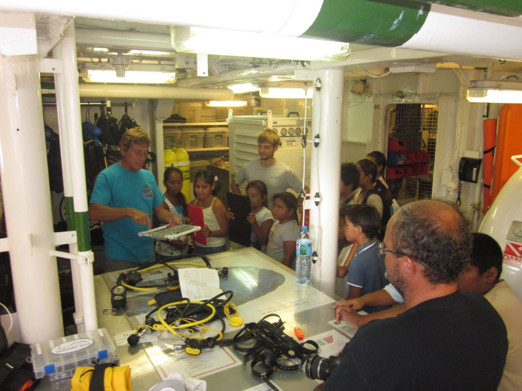 School children learn about survey tools onbaord the Golden Shadow