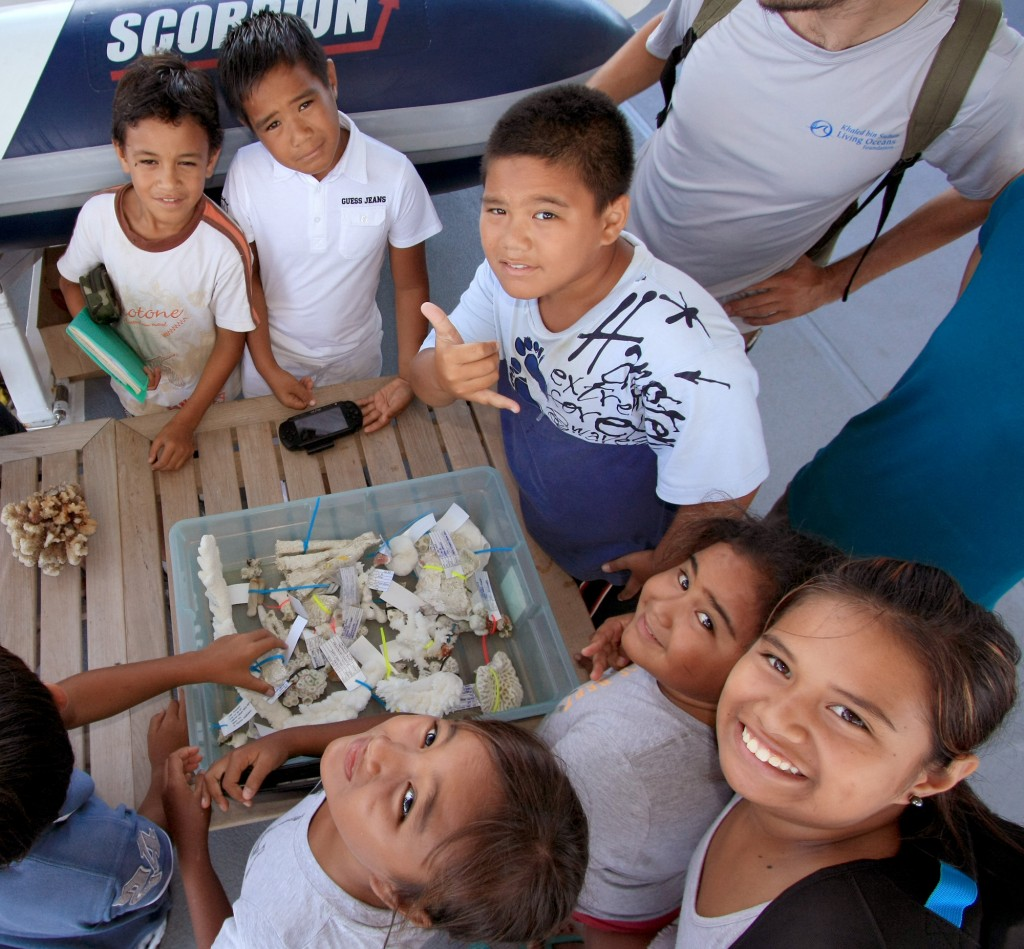 School kids from Rikitea, French Polynesia, visit the Golden Shadow