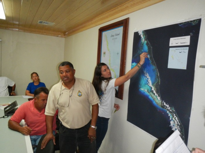 Participatory mapping exercises National Parks Director, David Knowles Bahamas National Trust and Caitlin Pommerance uf-Conservation Clinic Levin College of Law Photo Credit: Tom Ankerson UFCC Levin Col lege of Law