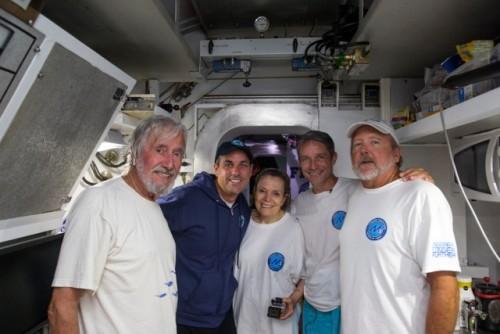Aquanauts Fabien Cousteau,  Kip Evans and Mark Hulsbeck with Sylvia & Jean-Michel (c) Kip Evans Photography / Mission 31
