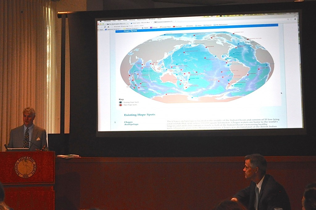 IUCN's Carl Lundin speaks about Hope Spots at National Geographic during Kerry Conference. Photo: Deb Castellana