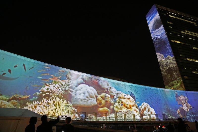 Projecting Change at UN Headquarters. © Courtney Mattison