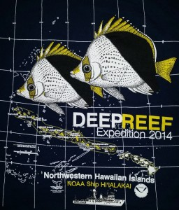 The design of this year's Mesophotic cruise T-Shirt features the Tinker's Butterflyfish (Chaetodon tinkeri). Photo by Richard Pyle, T-Shirt design by NOAA.