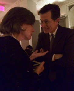 Sylvia Earle chatting with presenter Stephen Colbert (photo by Sarah Guinan Nixon)