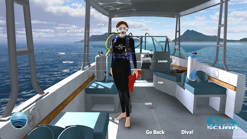 Dr. Sylvia Earle's avatar, complete with her signature ruby flippers. © Cascade Game Foundry