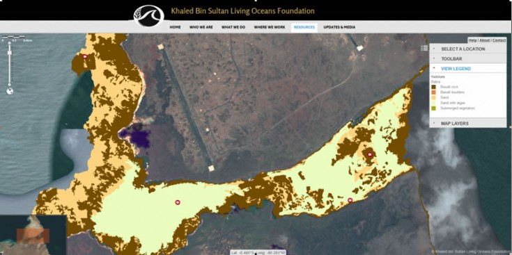 Example of the benthic habitat map from the south of Baltra, The Galapagos Islands viewed within the Khaled Bin Sultan Living Oceans Foundation World Web Map. Image courtesy KSLOF.