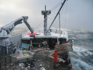 Boat fishing for crabs in the Bering Sea. © NIOSH