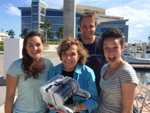 Dr. Sylvia Earle with GEECs founders Erika Bergman (left) and Samantha Wishnak (right) and OpenROV during this summer's Google Ocean Camp. © GEECs