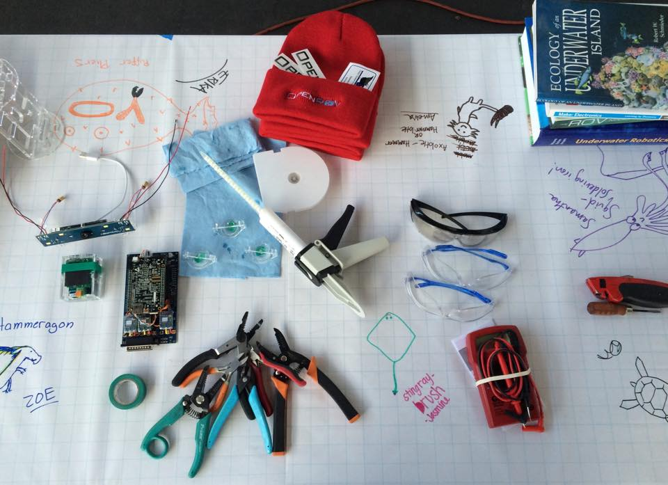 Some of the tools involved in building an OpenROV. © GEECs