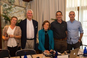 The Mission Blue team and partners held a press conference in Mallorca to announce the new Hope Spot. From left: Gigi Brisson, Carl Gustaf Lundin, Dr. Sylvia Earle, Brad Robertson and Gabriel Morey. Photo © Kip Evans for Mission Blue.