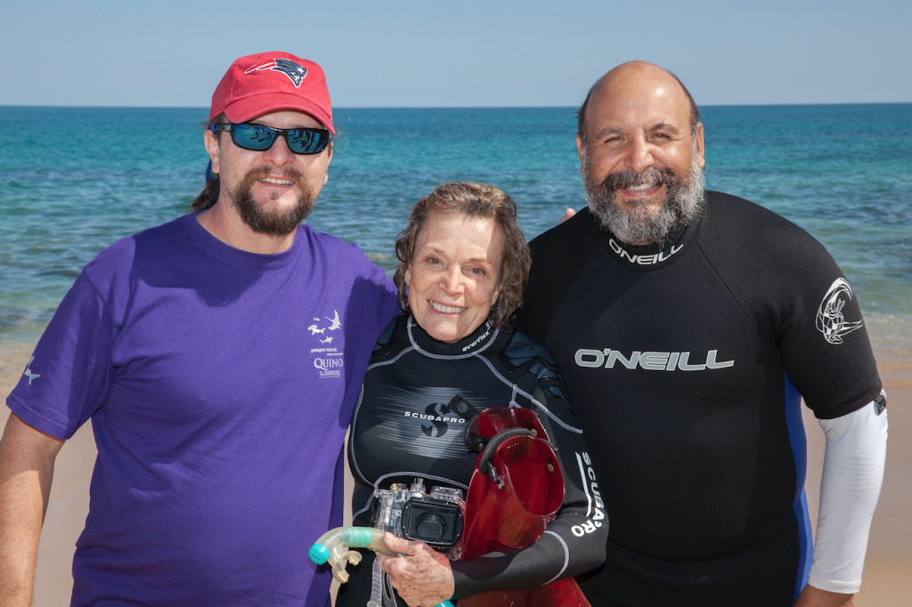 Dr. Sylvia Earle with Dr. James Ketchum of Pelagios Kakunjá (left) and Cabo Pulmo Park Director Carlos Ramon Godinez Reyes (right)