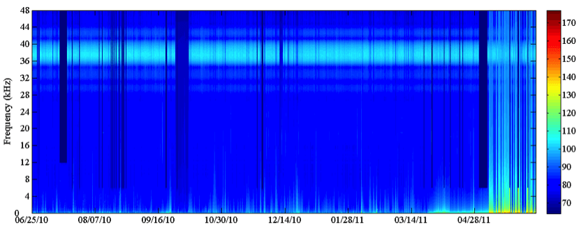 Light band in the sonogram is the signal from a communication sonar across an entire year. Neptune Project.